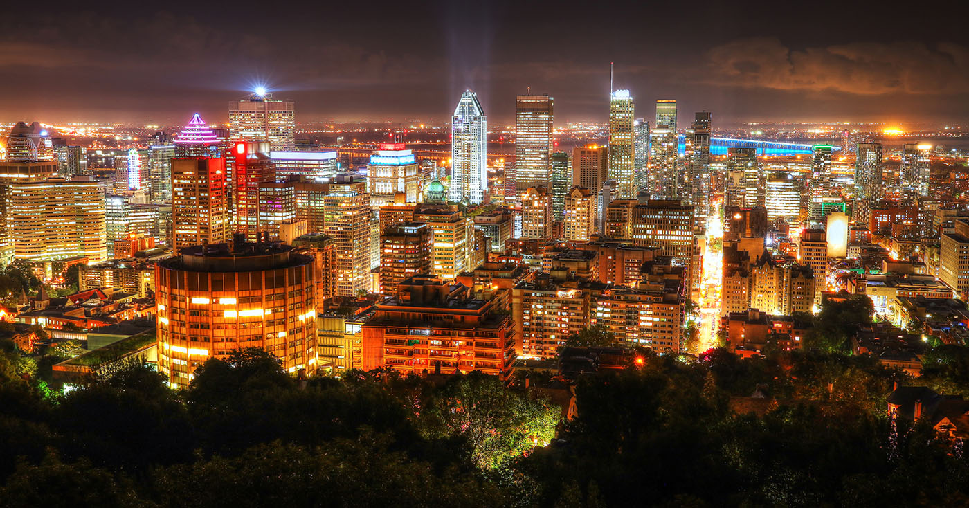 2020 Montreal City Sight at Night From Mount Royal Lookout - Colorful Stock Photos