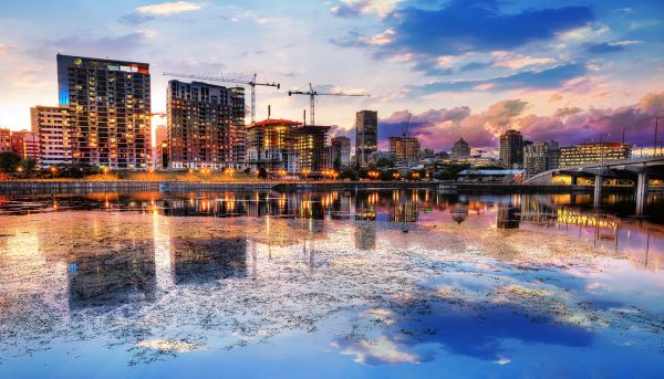 2020 Montreal City at Sunset with Water Reflection - Colorful Stock Photos