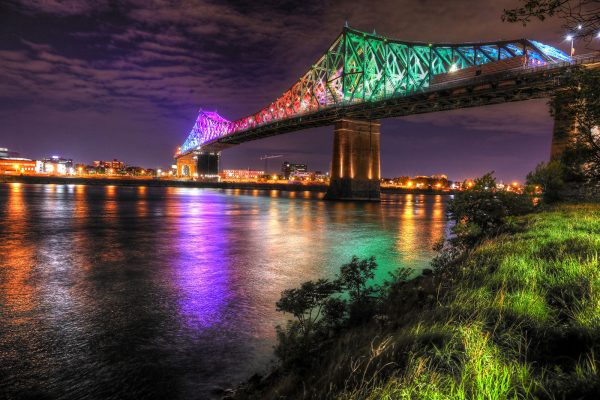 Colorful Jacques Cartier Bridge in Montreal City during Covid 19 Image