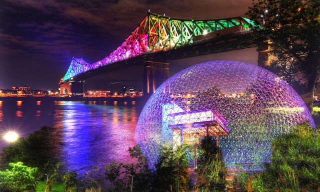 Montreal Jacques Cartier Bridge and Biosphere at Night Photo Montage