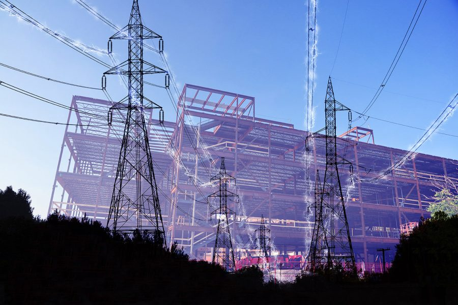 Construction Industry Electrification in Blue - Colorful Stock Photos