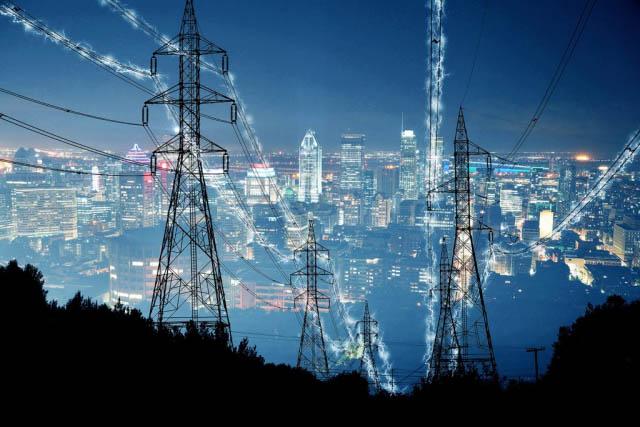 Metropolitan Electrification in Blue - Colorful Stock Photos