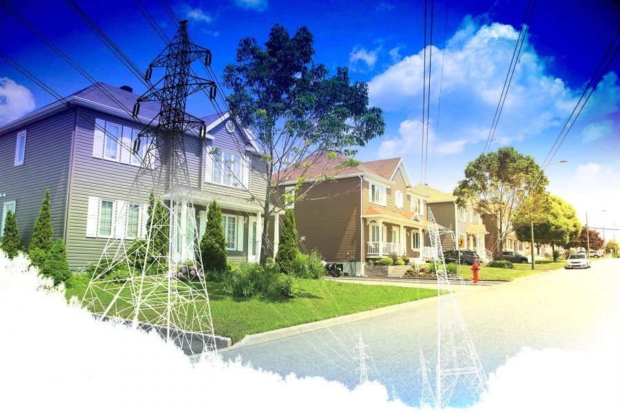 Residential Street Electrification on White - Colorful Stock Photos