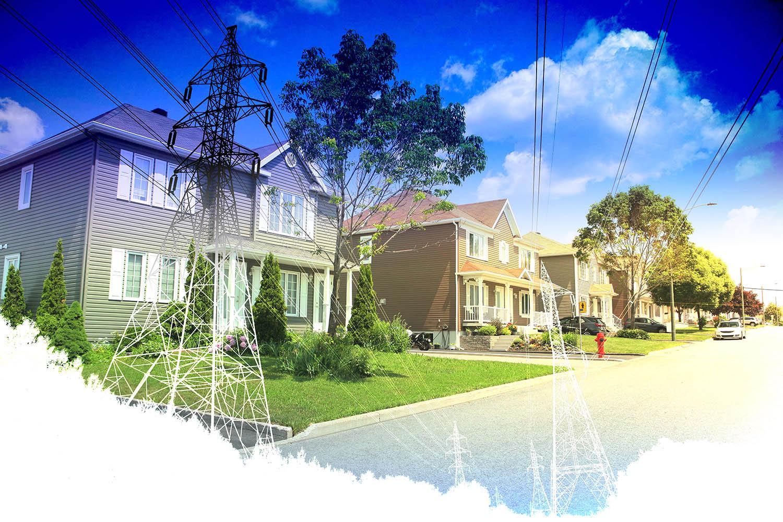 Residential Street Electrification on White - Colorful Stock Photos