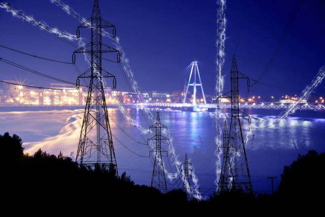 Small Town Electrification at Night in Blue - Colorful Stock Photos
