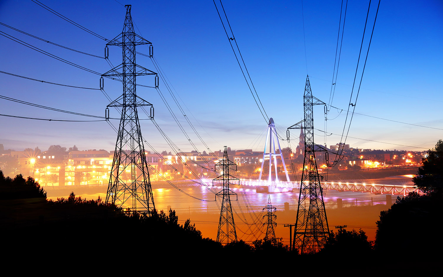 Small Town Electrification at Sunset - Colorful Stock Photos