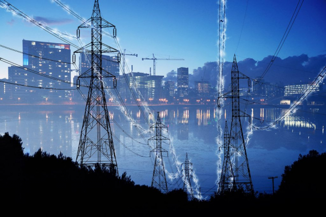 Urban Electrification Concept in Blue - Colorful Stock Photos