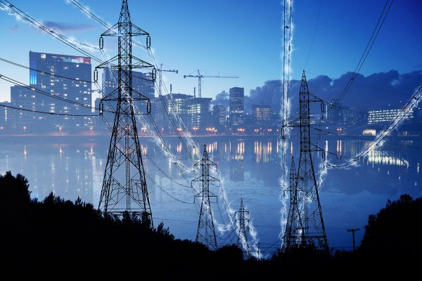 Urban Electrification Concept in Blue - Colorful Stock Photos