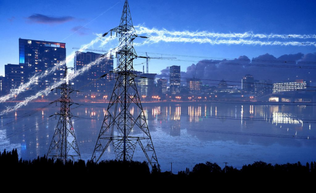 Urban Electrification in Blue - Colorful Stock Photos