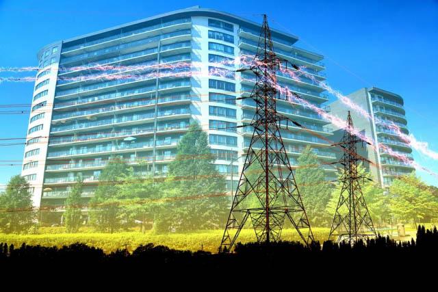 Urban Residential Building Electrification Concept - Colorful Stock Photos