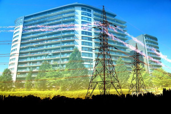Urban Residential Building Electrification Concept - Colorful Stock Photos