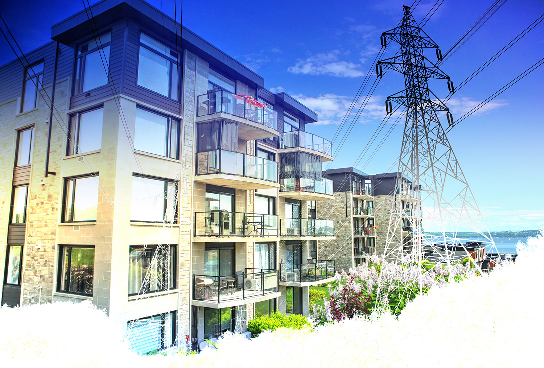 Urban Residential Electrification on White - Colorful Stock Photos