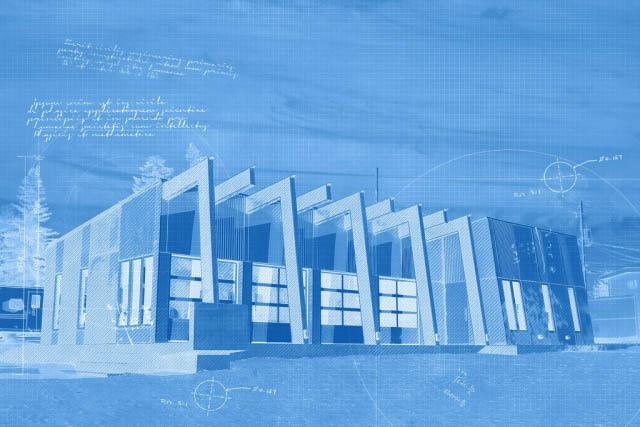 Stylish Building Construction Blueprint Design